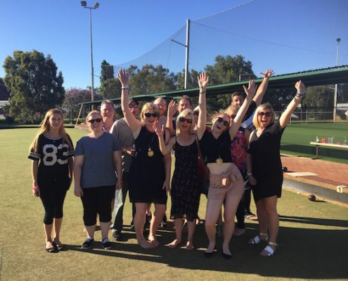 barefoot bowls team building event